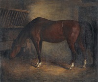 pferd im stall by jacques-laurent agasse