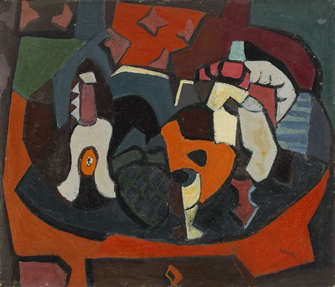 still life with animal mask and bottle by endre nemes