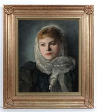 portrait of a female sitter with a white scarf else sapatka, konigsberg by ivan g. olinsky