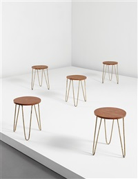 stools, model no. lc-ah-10-a (from the office of the secretary general of the mill owners association building, ahmedabad) (set of 5) by b. doshi and le corbusier