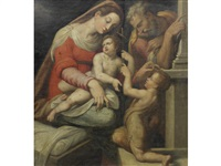 the holy family with the infant saint john the baptist by girolamo siciolante da sermoneta
