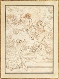 saint françois priant la vierge d'intercéder auprès du christ ou notre dame des anges dite la portioncule by michel corneille the younger