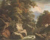 a wooded river landscape with a fisherman on a rock casting his line by william ashford