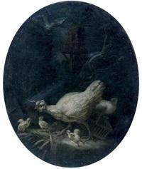 poules protégeant ses poussins by bartolomeo arbotori