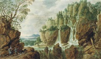 an extensive alpine landscape with travellers and dogs on a track beside a waterfall by lucas van uden