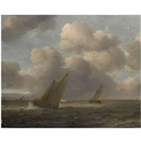 a seascape with small dutch vessels in a stiff breeze by hendrick van anthonissen