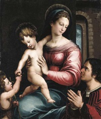 the virgin and child with the infant saint john the baptist and a donor by luca (romano) penni