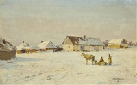 a farm by nikolskoe (kherson governorate), a wintry sunny day by ivan pavlovich pokhitonov