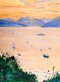 dusk at gourock by norman edgar