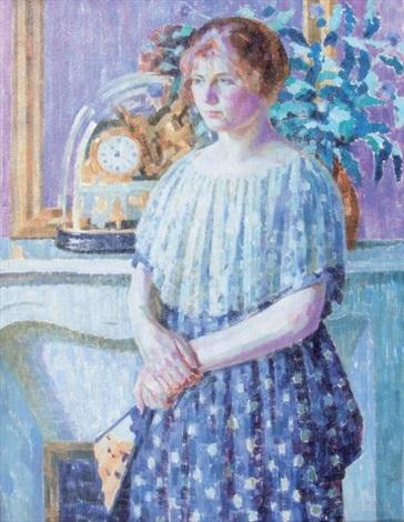 woman before a fireplace by louis ritman