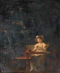 jeune femme cousant dans un jardin by marguerite gérard