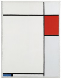 composition with red, blue and grey by piet mondrian