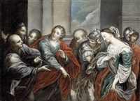 christus und die ehebrecherin by bartolomeo biscaino
