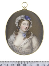 a lady, wearing open white linen chemise, a strand of pearls about her neck, her brown hair worn loose beneath a white lace mob cap dressed with blue ribbon and fastened beneath her chin by william bate