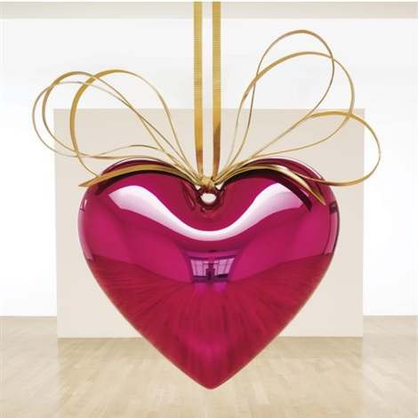 hanging heart (magenta/gold) by jeff koons