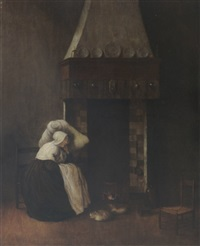 an interior with a woman sleeping near a fireplace, together with a cat and a dog by jacobus vrel
