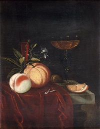 nature morte au verre de venise, pêche et orange disposés sur un entablement by juriaen van streeck