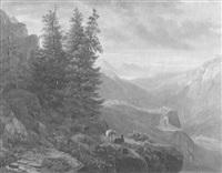 alpenlandschaft mit schafherde bei sonnenuntergang by heinrich fischer