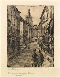 rue du gros-horloge à rouen by camille pissarro