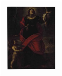 a female martyr saint, probably saint lucy, with an angel in attendance by alessandro tiarini