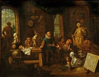 atelier du peintre (+ atelier du sculpteur; pair) by balthasar van den bossche