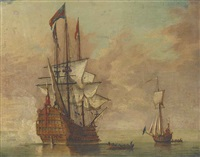 the flagship royal sovereign, stern quarter view, saluting the arrival of the admiral by samuel scott