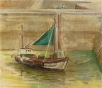 boats in the harbour, honfleur by barbara warren