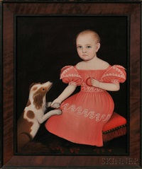 portrait of a child in a pink dress seated on a red cushion, with a spaniel by ammi phillips