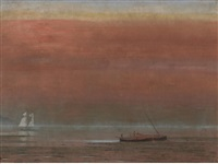 sunset on the water by jules tavernier