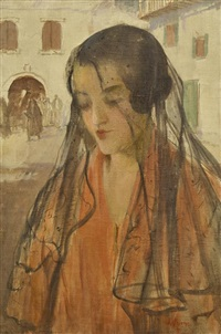 woman with veil by james peter quinn