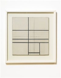 composition with double line by piet mondrian