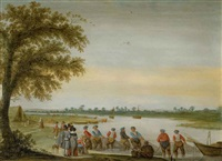 pêcheurs tirant leurs filets au bord d'une rivière by barent avercamp