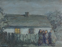 village scene at dusk by mieczyslaw sieminski