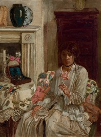 self-portrait, sewing in an interior at bath cottage, speen, berkshire by noel laura bush
