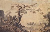 travellers in a landscape by benjamin (major-general) fisher