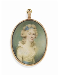 a lady called mrs merry, in white dress with frilled collar and blue sash, blue bandeau in her powdered curling hair; sky background by edward miles