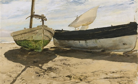 barcas en la playa valencia fishing boats on the beach valencia by joaquin sorolla y bastida