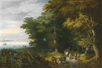 drovers and travellers on a path at the margin of a forest, a wide river to the left by jan brueghel the younger