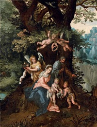la sainte famille avec saint jean-baptiste et des anges dans un paysage boisé by hendrick de clerck