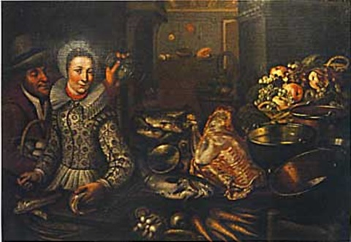 couple dans une cuisine avec nature morte de fruits poissons viande légumes et ustensils de cuisine by cornelis jacobsz delff