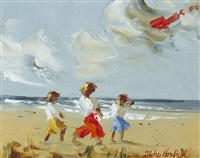 children with a red kite by thelma mansfield