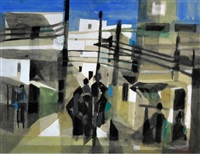 a street scene with figures by marcel mouly