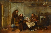 monks in a study by henry j.l.w. d' acosta