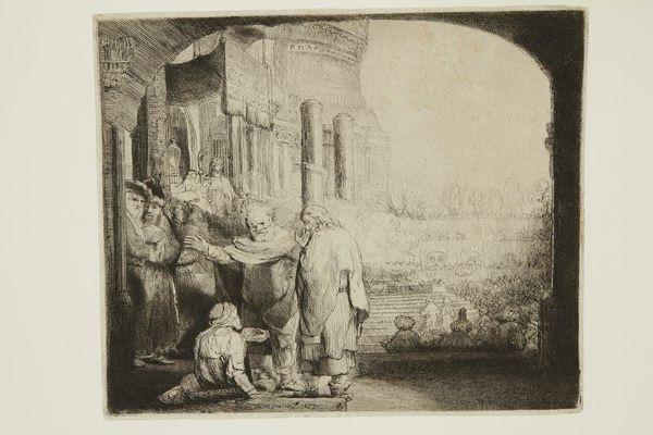 pierre et jean à la porte du temple by rembrandt van rijn