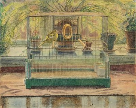 bird cage on a windowsill by johannes larsen