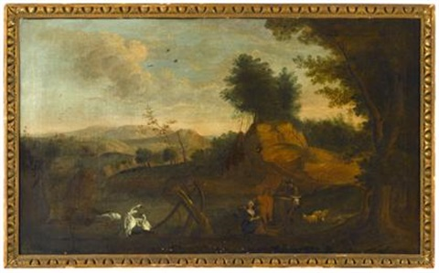 romantic landscape with swans milkmaid and cows by continental school 18