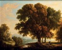 paysage de ruines et vaches by johann bernard klombeck