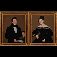 portraits of a young man and woman (pair) by ammi phillips
