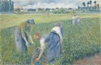 paysannes travaillant dans les champs, pontoise by camille pissarro