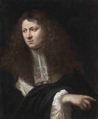 portrait of a gentleman in a black coat with a lace sleeve and scarf by jan de herdt